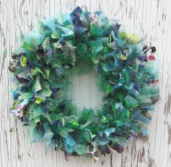 Recycled Prom Dress Wreath - 14 inch - Mermaid Green