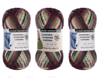 Bulk Buy HOLIDAY 3 Pack! Charisma Loops & Threads. Bulky Acrylic yarn w/ a mix of old time Christmas Colors. 3 skeins per bag Lot #5087 ±