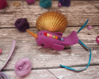 Narwhal, unicorn of the sea, purple narwhal, rainbow, cute narwhal, mythical, mythical creature, magical beast, home decor, needle felted.