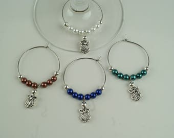 Owls Wine Charms-4pc