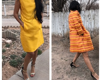 Vintage 60's dress and jacket set/ yellow dress/ sleeveless dress/ striped overcoat jacket/ yellow and orange/ dress with pockets/