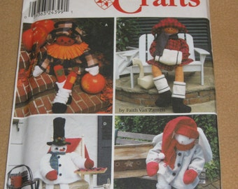 "Uncut Pattern - Simplicity 9443 - 38"" porch sitters - stuffed animals - Scarecrow, Christmas girl, Christmas Elf and Bunny with clothes"