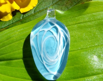 SALE Blown Glass Sky Blue and White Abstract Pendant, Your Choice of Black Satin Cord or Cotton Cord