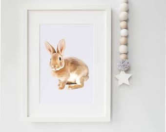 bunny children's print/nursery print / baby shower gift/ kid's room/5x7 or 8x10/ baby woodland creatures nursery