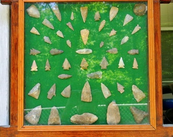 Authentic Arrowhead Collection South Texas Arrowhead Display Handmade Display Case 46 Various Arrowheads and Tools