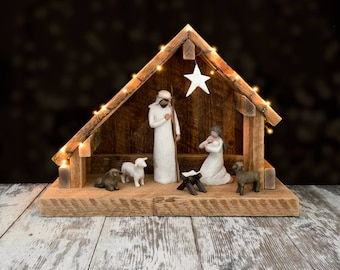 Nativity Creche Stable with Slant Roof Reclaimed Barn Wood - WITH PLATFORM