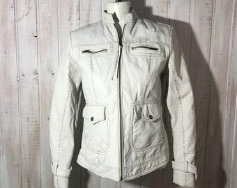 Leather - B G & co - coat - jacket - small - white - leather jacket