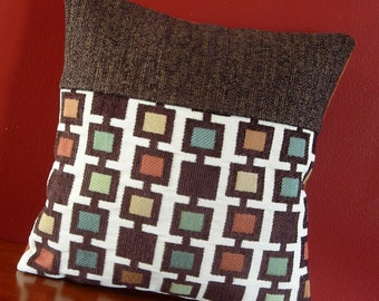 Decorative throw pillow cover Multicolored squares Brown Rust Orange Yellow Blue Geometric Accent pillow 12x12 Colorblock - Ready to ship