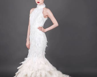 White Ostrich Feather Mermaid Couture Wedding Dress