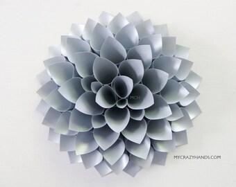 metallic paper dahlia | 10'' dahlia wall decor | wedding flower || origami gifts | nursery wall decor | bridal shower backdrop -gray