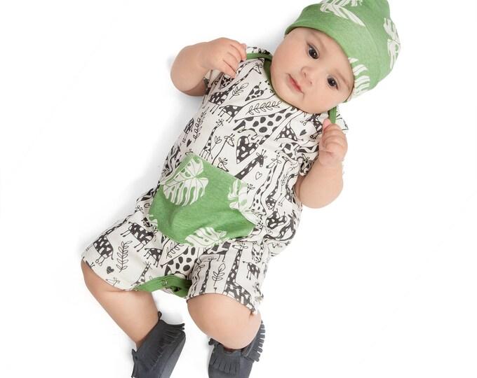 SPRING SALE! Newborn Baby Onesie Outfit, Short Sleeve Baby Boy Onesie Pocket Romper, Baby Boy Giraffe Romper, Baby Onesie Pockets, Summer