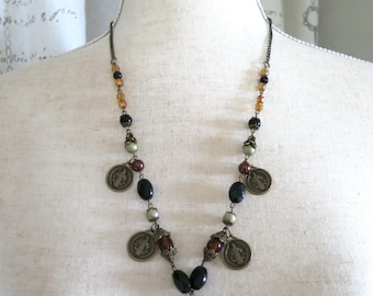 Earth-tones Necklace Recycled Repurposed Vintage