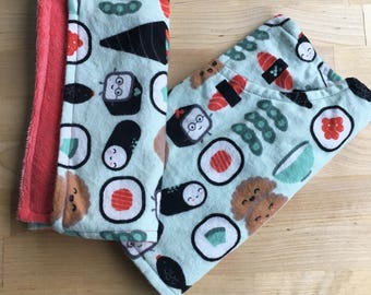 SUSHI PACK: Lot of 2 burp cloths