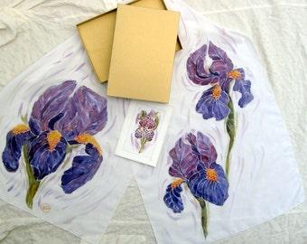 Purple Iris/Flowers Shawl/ White Silk Scarves/Iris Scarf/Modern Iris Gift/Handpainted Iris Silk Scarf/Batik Irises/ Floral Scarf/Iris Shawl.