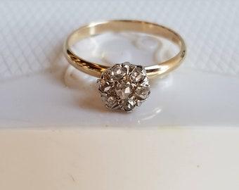 Antique Rose Cut Diamond Cluster Ring 10K Gold Conversion Ring Seven Rose Cut Diamonds