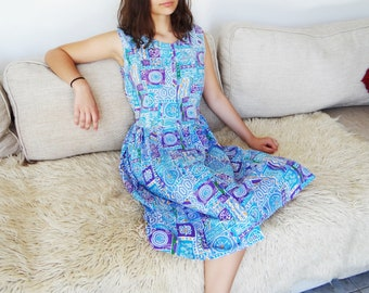 Boho Dress, UK10, Blue Summer Dress, Hippie Dress, Peasant Dress, Holiday Dress, Festival Clothing, Pretty Dress, Vintage Clothing, Bohemian