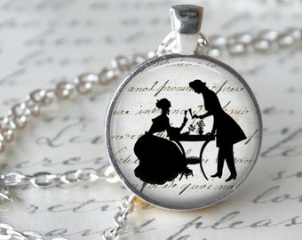 JANE AUSTEN Necklace Pendant Necklace - Pride and Prejudice - Glass Pendant Jewerly Handmade Necklace Romantic Gift