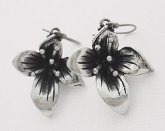 Orchid Flower Earrings Ear Wires for Pierced Ears Retro Floral Jewelry