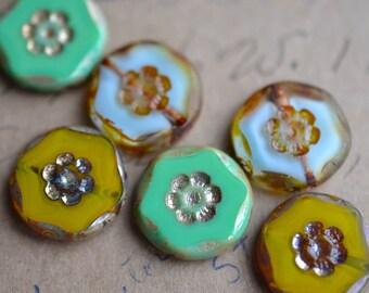 Light Blue Mint Green Olivine Green Czech Glass Bead Mix / Rustic 14mm Picasso Bead Mix / Jewelry Findings