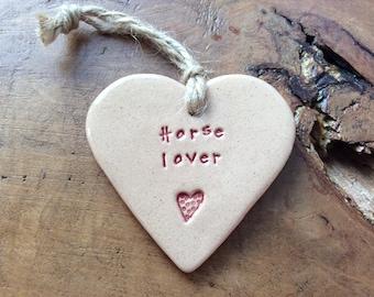 Horse lover handmade ceramic hanging heart, perfect gift