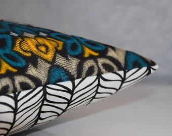 Cover of Pillow - double sided - 40 x 40 cm - printed fabric flowers geometric and graphic - mustard, teal, grey, black