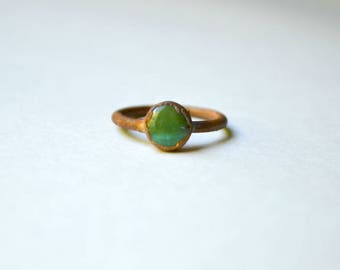 Magnesite Turquoise & Copper Ring Size 6