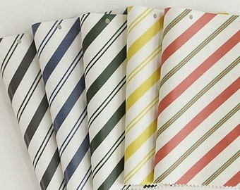 "20's Laminated Cotton Fabric by the yard Stripe_Red, Khaki, Yellow, Navy, Brown_43.3""  4YO 1006457"