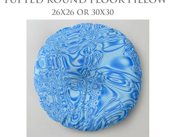 Round Floor Pillow-STUFFED Pillow-Floor Pillow-Blue Floor Pillow-Abstract Decor-Square Floor Pillow-Floor Cushion-Tufted Pillow-Teen Room