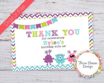Girly Monster Printable Thank You Card