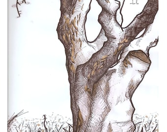 Original Ink Tree Drawing with Gold Accents, Spring Illustration Black and White