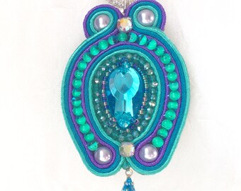 Turquoise Pendant - Soutache Necklace - Embroidered Jewelry - Statement Necklace - Blue Beaded Bijoux