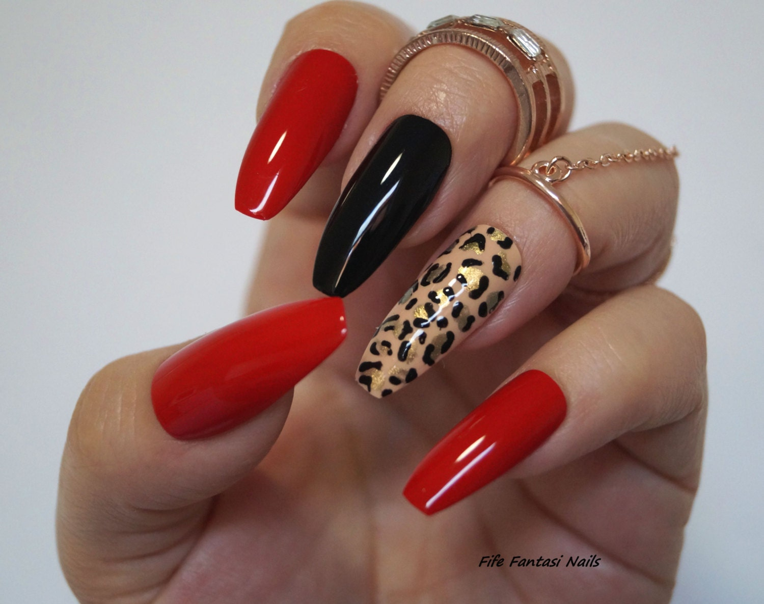 Red Coffin Nails, Animal Print, Stiletto nails, Fake nails, Kylie ...
