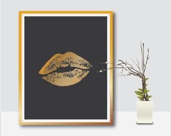 Lips Wall Art, Printable Lips, Gold Lips Wall Art, Lips Print, Makeup Prints, Makeup Printable, Gold Makeup Vanity, Lips, Salon Prints, Gift