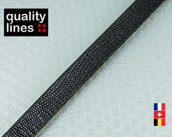 X 18 CM - black flat leather 10mm Snake / 2.50 mm (18 cm is enough to make a bracelet up to l to XL size)