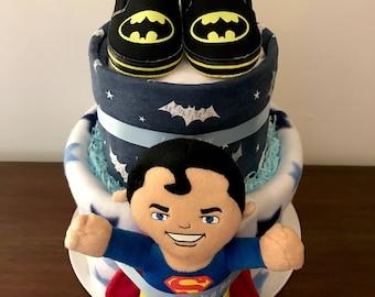 Superman batman combo nappy cake