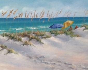 "Beach Scene | Tranquil Beach Scene | Beach Umbrellas | Print of Original Artwork | Jeanie Posey Artist | 5x7"" and 8x10"" Matted and Backed"