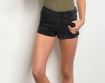 Black Denim Acid Wash Shorts
