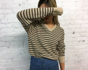 vintage 70s wool striped sweater / vintage McGregor sweater / 1970s v-neck neutral toned sweater / minimal earth tone sweater