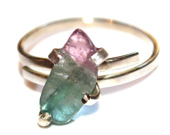 Blue Watermelon Tourmaline Slice Ring Tourmaline Ring Silver Ring Adjustable Ring Blue Ring Paraiba Tourmaline Jewelry Rare Tourmaline