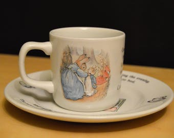 2 pc Set Wedgwood Peter Rabbit Plate and Cup, Made in England, Child's Set
