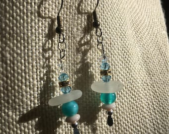 Sterling Silver Frosted White Sea Glass Dangle Earrings