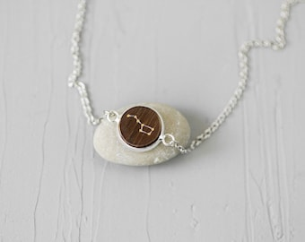 Big dipper necklace Constellation necklace Ursa major jewelry Star sign necklace Everyday necklace Astronomy jewelry Wooden necklace