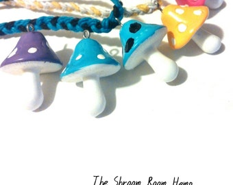 Braided Hemp Mushroom Necklaces You Choose Color(s), Build your own