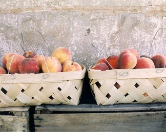 Just Peachy - Luscious Summer Peaches - Country Farm Stand Still Life - Original Color Film Photograph by Suzanne MacCrone Rogers