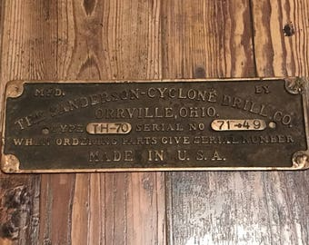 Solid Brass Serial Number Plate - Sanderson-Cyclone Drilling Co. Drill