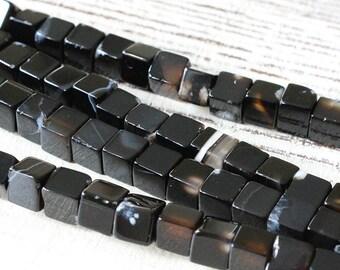 6mm Stone Cube Beads - Gemstone Cube Beads For Jewelry Making - Black Onyx - 16 Inch Strand