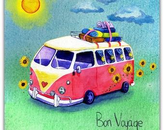 Bon Voyage original greeting card - handmade 15cm x 15cm