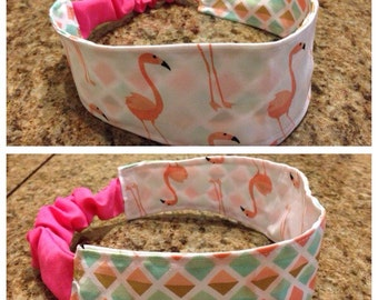 Adult pink and white flamingo/diamond print reversible fabric headband/hairband/hair accessory