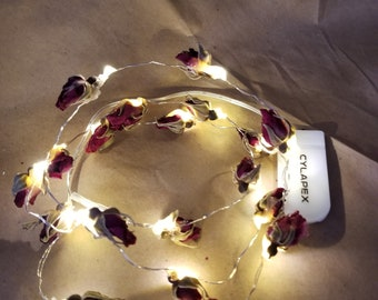 Rosebud Fairy Lights-Battery Strand 20 Micro Led Lights Wedding Decoration-Red Rosebud Fairy Lights-Silver Wire-flexible 3.3 Feet/1 meter