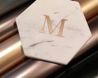 Monogrammed marble coasters